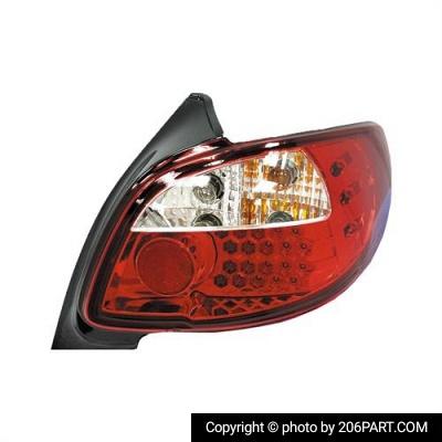 چراغ خطر عقب پژو 206 و 207 لامپی/ سونار تایوان (مدل سفید)